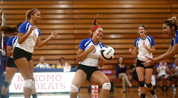 9-13-17<br /> Kokomo vs North Miami volleyball<br /> Gabby Cooper celebrates with teammates after spiking the ball.<br /> Kelly Lafferty Gerber   Kokomo Tribune