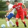 9-19-17<br /> Tri Central vs Taylor boys soccer<br /> TC's Riley Jones and Taylor's Ken Kessler go after the ball.<br /> Kelly Lafferty Gerber | Kokomo Tribune