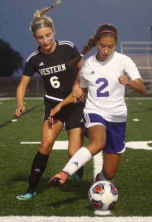 9-14-17<br /> Northwestern vs Western girls soccer<br /> Western's Sophie Weigt and NW's Sasha Jocius go after the ball.<br /> Kelly Lafferty Gerber | Kokomo Tribune