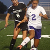 9-14-17<br /> Northwestern vs Western girls soccer<br /> Western's Sophie Weigt and NW's Sasha Jocius go after the ball.<br /> Kelly Lafferty Gerber | Kokomo Tribune
