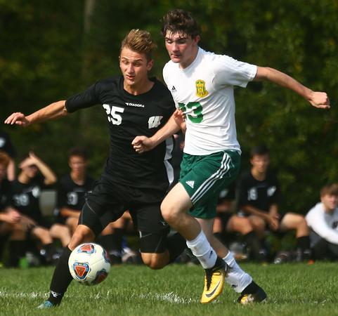 9-16-17<br /> Eastern vs Western boys soccer<br /> Western's Charles Padgett and Eastern's Ethan Henry go after the ball.<br /> Kelly Lafferty Gerber | Kokomo Tribune