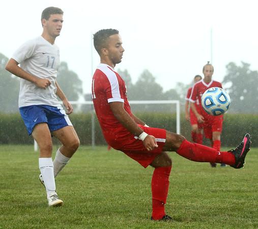 9-19-17<br /> Tri Central vs Taylor boys soccer<br /> Taylor's Wesley Tignor Borgani kicks the ball.<br /> Kelly Lafferty Gerber | Kokomo Tribune