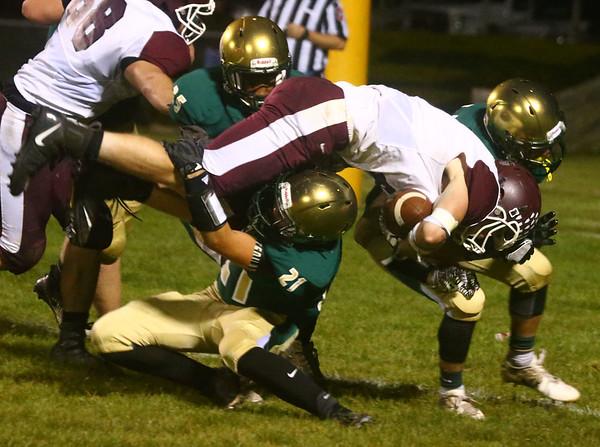 9-1-17<br /> Eastern vs Wes-Del football<br /> Eastern defense takes down Wes-Del's Kyle Dosch.<br /> Kelly Lafferty Gerber | Kokomo Tribune