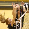9-30-17<br /> Hoosier Conference tournament-Northwestern volleyball<br /> Klair Merrell and Kendall Bostic go up for a block.<br /> Kelly Lafferty Gerber | Kokomo Tribune