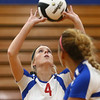 9-13-17<br /> Kokomo vs North Miami volleyball<br /> Kylee Lauderbaugh sets the ball.<br /> Kelly Lafferty Gerber | Kokomo Tribune