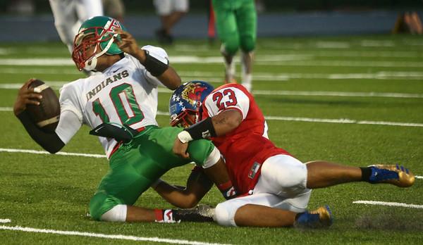 9-22-17<br /> Kokomo vs Anderson football<br /> Jabriarn Adams takes down Anderson's Aaron Armstrong.<br /> Kelly Lafferty Gerber | Kokomo Tribune