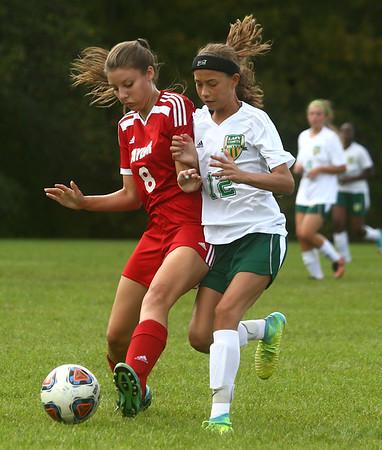 9-27-17<br /> Eastern vs Taylor girls soccer<br /> Taylor's Austyn Huffer and Eastern's Heidi Williams<br /> Kelly Lafferty Gerber | Kokomo Tribune