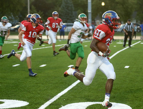 9-22-17<br /> Kokomo vs Anderson football<br /> Steven Edwards runs the ball for a touchdown.<br /> Kelly Lafferty Gerber   Kokomo Tribune