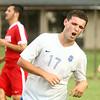 9-19-17<br /> Tri Central vs Taylor boys soccer<br /> TC's Nathan Mast celebrates after scoring a goal.<br /> Kelly Lafferty Gerber | Kokomo Tribune