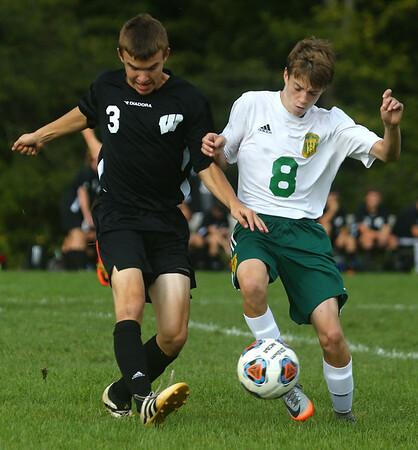 9-16-17<br /> Eastern vs Western boys soccer<br /> Western's Noah Stranahan and Eastern's Luke Stout go after the ball.<br /> Kelly Lafferty Gerber   Kokomo Tribune