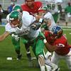 9-22-17<br /> Kokomo vs Anderson football<br /> Kokomo's Brody Smith tackles Anderson's Elijah Merida.<br /> Kelly Lafferty Gerber | Kokomo Tribune