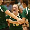 9-21-17<br /> Eastern vs Taylor volleyball<br /> Maci Weeks celebrates with teammates after an Eastern point.<br /> Kelly Lafferty Gerber | Kokomo Tribune