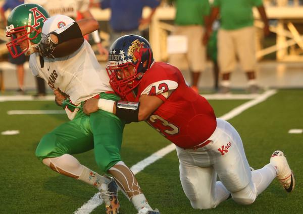 9-22-17<br /> Kokomo vs Anderson football<br /> Kokomo's Noah Hurlock tackles Anderson's Elijah Merida.<br /> Kelly Lafferty Gerber | Kokomo Tribune