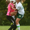 9-27-17<br /> Eastern vs Taylor girls soccer<br /> Taylor goalie Madelyn Delgado and Eastern's Cassie Bryan collide.<br /> Kelly Lafferty Gerber | Kokomo Tribune
