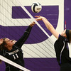 9-26-17<br /> Northwestern vs Western volleyball<br /> NW's Steph Burns tips the ball over the net to Western's Emma Key.<br /> Kelly Lafferty Gerber | Kokomo Tribune