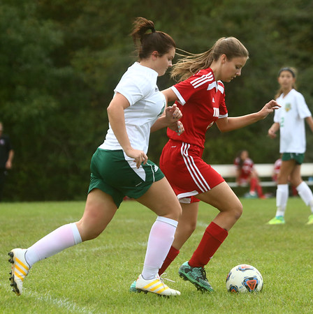 9-27-17<br /> Eastern vs Taylor girls soccer<br /> Taylor's B'Elanna Aaron and Eastern's Jordan Secrease.<br /> Kelly Lafferty Gerber   Kokomo Tribune