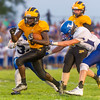 Panthers running back Ezra Lewellen (5) runs in his second touchdown of the night as Pioneer took on Triton at The Pit on Thursday evening. Fran Ruchalski | Pharos-Tribune