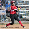 Madison Shifflett connects with the ball for a double.