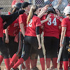 The East Rock team greats Serenity Bishop at home plate after her second home run.
