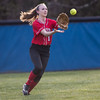 Meredith Dean catches a fly ball to center field