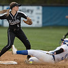 Taylor Carpenter slides in to second base but called out as TA's Torie Shifflett throws to first to attempt the double play