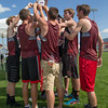 ERHS Boys Team hoists their second place trrophy during the awards ceremony