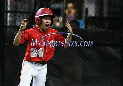 8/12/2017 Mike Orazzi   Staff Mike Arent (24) celebrates during the Mid-Atlantic Regional Final at the Eastern Regional Little League Tournament at Breen Field in Bristol Saturday night.