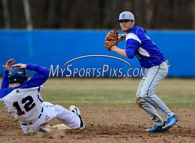 4/5/2017 Mike Orazzi | Staff Bristol Eastern's Cory Fredette (8) gets a force out on Plainville's Tyler St. Onge (12).