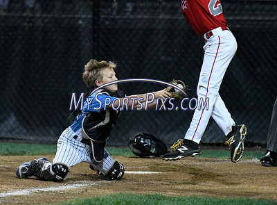 8/12/2017 Mike Orazzi   Staff Maryland's Braden Bell (33) as New Jersey's Mike Arent (24) scores during the Mid-Atlantic Regional Final at the Eastern Regional Little League Tournament at Breen Field in Bristol Saturday night.