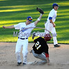 6/20/2017 Mike Orazzi   Staff<br /> Bristol Blues' Mark Tumosa (6) as the Pittsfield Suns' Andre Marrero (21) steals second base at Muzzy Field Tuesday night.