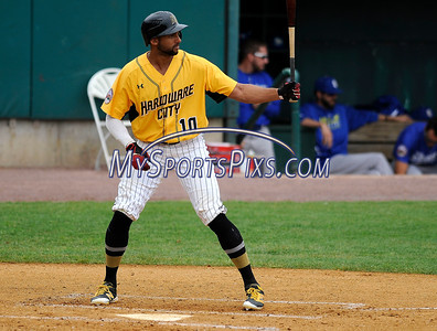 8/29/2017 Mike Orazzi | Staff New Britain Bees' Michael Crouse (10) during Tuesday's game with the Sugar Land Skeeters.