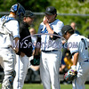 6/3/2017 Mike Orazzi | Staff<br /> St. Paul Catholic High School's Vic Rinaldi talks with Christopher Mills (16), pitcher Wes Lahey (18) and Nick Morrell (2) during a 7-6 loss in the Class S Quarterfinal baseball game with Housatonic Regional Saturday in Bristol.