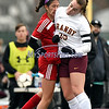 11/18/2017 Mike Orazzi | Staff<br /> Granby Memorial's Mackenzie Stahl (25) and Berlin's Lea Cabral (7) during the Class M Final at Municipal Stadium in  Waterbury Saturday. Granby won 3-0.