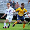 9/8/2017 Mike Orazzi | Staff<br /> St. Paul Boys Soccer's Danny Bond (5) Kennedy's Donaldi Sino (7) Friday in Bristol.