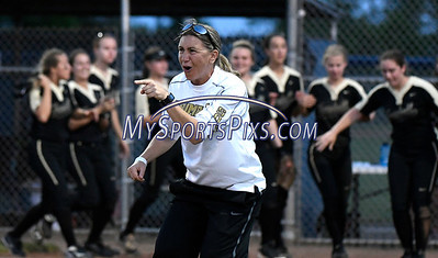 6/10/2017 Mike Orazzi | Staff Trumbull Softball Coach Jacqui Sheftz during the Class LL softball final with Southington at West Haven High School Saturday night.