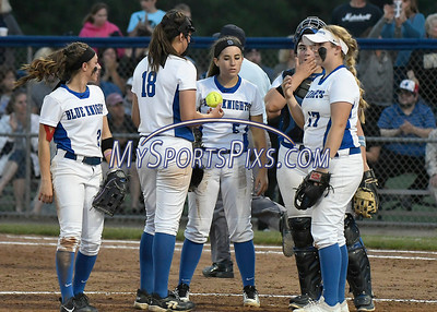 6/10/2017 Mike Orazzi | Staff Southington girls softball during a loss to Trumbull in the Class LL softball final at West Haven High School Saturday night.