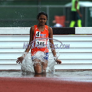 7/15/2017 Mike Orazzi | Staff Vivian Mendez in the 2000 meter steeplechase during the Nutmeg Games held in Willow Brook Park in New Britain Saturday.