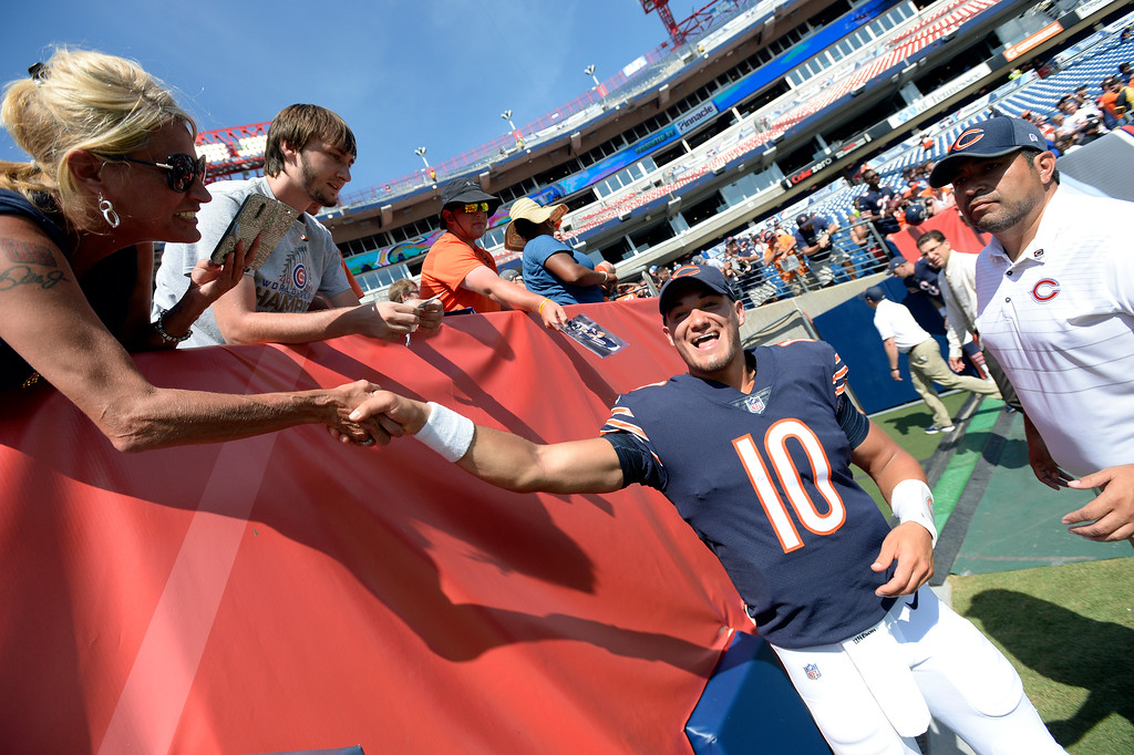 . Chicago Bears quarterback Mitchell Trubisky greets fans after an NFL football preseason game against the Tennessee Titans Sunday, Aug. 27, 2017, in Nashville, Tenn. The Bears won 19-7. (AP Photo/Mark Zaleski)