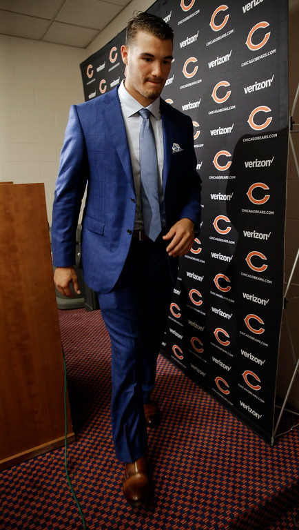 . Chicago Bears quarterback Mitchell Trubisky leaves a news conference after an NFL football preseason game against the Tennessee Titans Sunday, Aug. 27, 2017, in Nashville, Tenn. The Bears won 19-7. (AP Photo/James Kenney)