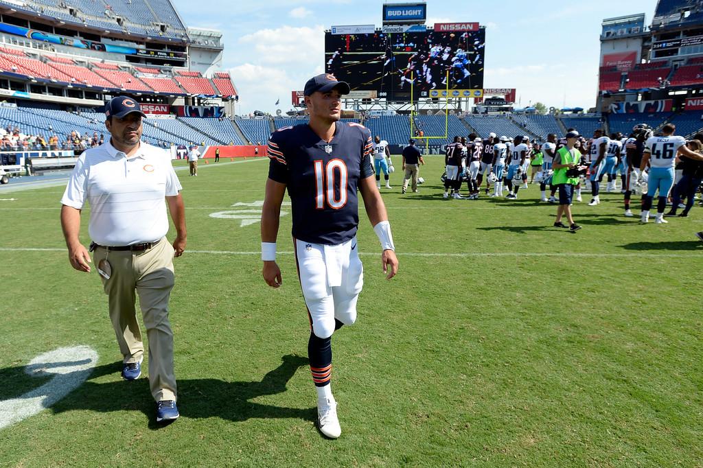 . Chicago Bears quarterback Mitchell Trubisky (10) leaves the field after an NFL football preseason game Sunday, Aug. 27, 2017, in Nashville, Tenn. The Bears won 19-7. (AP Photo/Mark Zaleski)