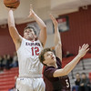 Griffen Morris takes a jumpshot behind Dylan Dunnivan