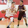 Austin Beaghan works the ball down court against Antonio Ruiz-Haynes
