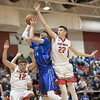 Dalton Jefferson attempts to block a shot from Daniel Ouderkirk