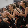 The East Rock bench erupts after Naomi Gibson blocks a shot from NaKaila Gray
