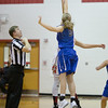 Naomi Gibson and Stephanie Ouderkirk battle for the jump ball
