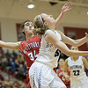 Stephanie Ouderkirk puts up a shot under the basket