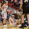 Nicole Jefferson fights to gain control of a loose ball