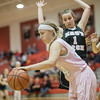 Sarah Southers works to get around the Eagle defense