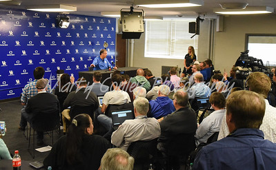 Kentucky head basketball coach, John Calipari talks with media on Thursday in Lexington.  MARTY CONLEY/ FOR THE DAILY INDEPENDENT