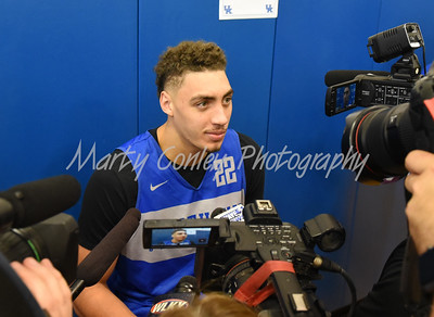 Kentucky basketball player, Reid Travis talks with the media on Thursday during media day in Lexington.   MARTY CONLEY/ FOR THE DAILY INDEPENDENT